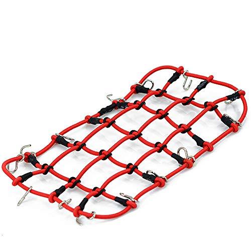 TianranRT Klettern Auto Dach elastisch 1/10 RC elastisch Gepäck Netz Fahrzeuge Crawler Zubehör für RC4WD Axial SCX10 D90 (Rot)