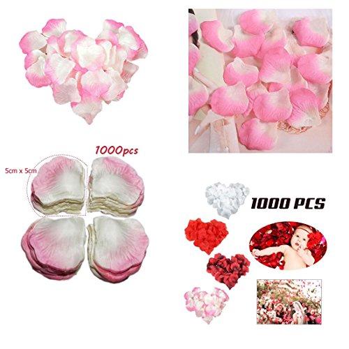 WSS 1000 pétalos de rosa en seda para bodas, fiestas, decoración, confeti (color rosa)