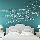 Wandaro Wandtattoo Spruch Nimm dir Zeit zum Träumen + Sterne I pink (BxH) 135 x 41 cm I Schlafzimmer Wandaufkleber Wandsticker Aufkleber Sticker W3263
