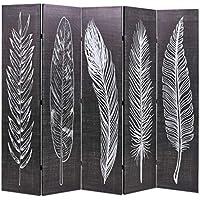 Festnight- Biombo de Plumas Divisor Plegable 200x180 cm Blanco y Negro - Muebles de Dormitorio precios