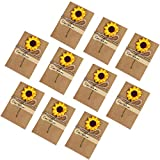 Simuer Grußkarten Dankeskarten Kraftpapierumschläge,Retro Vintage Postkarte getrocknete Blumen Geschenkkarte Einladung Wunschkarte braune Briefumschlag 10 Pack