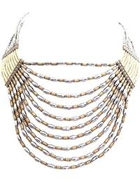 Marc Labat - 14E22 - Indi-Chic - Collier Ras du cou Femme - Métal - Verre - Perle - 38 cm