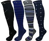 Swell Relief 4 Chaussettes de Compression modérée,très Confortables,pour femme et homme,Réductrices.Course à pied,Varices (Moyenne/Grand, 4 Designs)