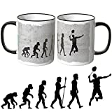 JUNIWORDS Tasse - Wähle Motiv & Farbe -Evolution Badminton - Schwarz
