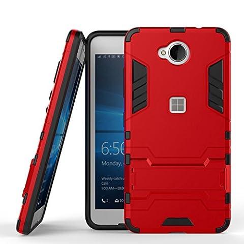 Lumia 650 Heavy Duty Coque DWaybox 2 in 1 Hybrid Armor Hard Back Coque Housse pour Microsoft Lumia 650 / Nokia Lumia 650 (Marsala Red)
