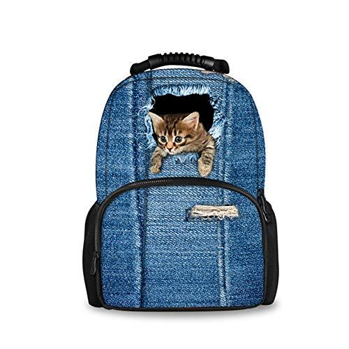 fhdc Zaino Zaino Da Donna Zaino Denim 3D Pomeranian Dog Bagpack School Bag StudentSchoolbag C3301A