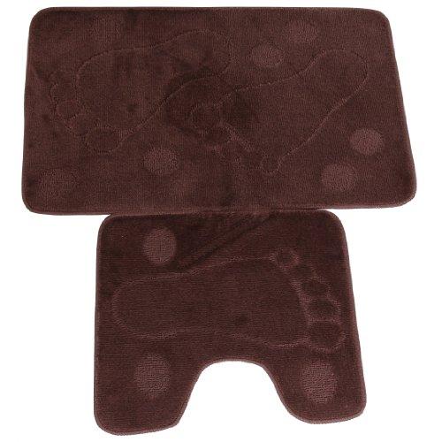 Set de 2 piezas de alfombras de cuarto de baño Diseño Huellas pies (9 Colores Disponibles) (Ver descripción/Marrón )