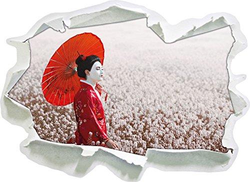 Geisha auf dem Feld, Papier 3D-Wandsticker Format: 62x45 cm Wanddekoration 3D-Wandaufkleber Wandtattoo