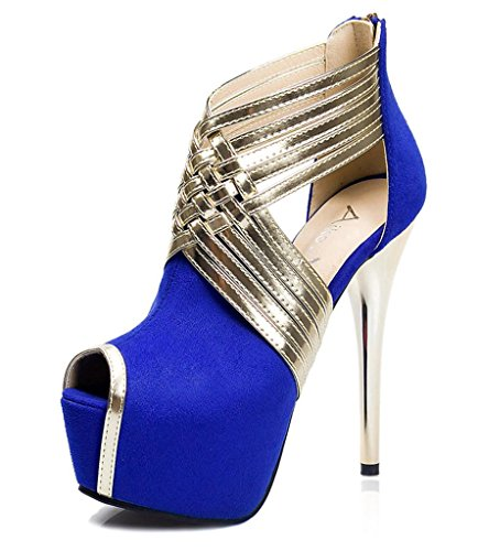 SZXC Chaussures pour femmes Hollow Out Flansch Cub Sexy Hin Thin Stiletto Ferse Talons / Peep Toe Heels Party & Abend / Kleid , 35 , blue