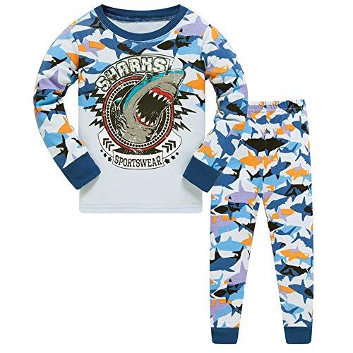 HIKIDS Jungen Schlafanzug Hai Herbst Winter Pyjamas Set Kinder Langarm Nachtwäsche 2 Stücke Bekleidung 116 (Shark Jungen Schlafanzug)