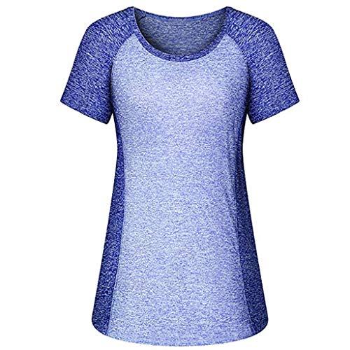 VRTUR Damen Sport T-Shirt Nahtloses Laufshirt Kurze Ärmel Bluse Atmungsaktive Funktionsshirt für Sport Fitness Yoga