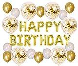 Soulstice ©   Die glanzvolle Geburtstagsdeko in Gold - goldene Happy Birthday Ballons als Blickfang für Ihre Geburtstagsfeier