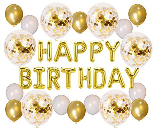 sdeko, Happy Birthday Ballon, Happy Birthday Girlande , Geburtstags-Girlande, 6 XXL Konfetti-Ballons in Gold, Happy Birthday Deko ()