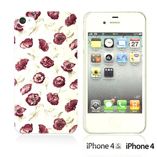 OBiDi - Flower Pattern Hardback Case / Housse pour Apple iPhone 4S / Apple iPhone 4 - Colorful Flowers With Birds Small Red Rose Print