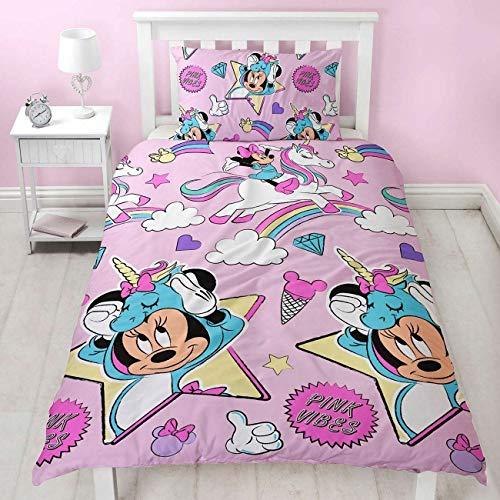 Wendebettwäsche-Set Disney Mickey/Minnie Maus für Einzel- / Doppelbetten, für Mädchen/Jungen, Minnie Mouse Unicorns Pink, Einzelbett (Bettwäsche Disney Einzel)