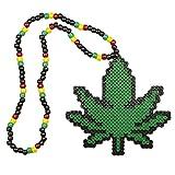 """Collier Kandi """"Rasta Weed"""", collier pour rave parties, collier de perles, costumes et déguisement pour Halloween et festivals de musique"""