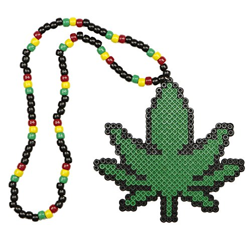 Rasta Weed Kandi Necklace, rave necklace, beaded necklace, bead necklace halloween costume for music festival - Festival Halloween-electronic Music