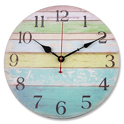 Soledì Orologio da parete in legno d'epoca Strisce Colorate Stile Rustico