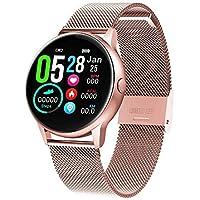 naack smartwatch, Reloj Inteligente Impermeable IP68 Pulsera de Actividad Pulsómetro Monitor de sueño Deportivo Cronómetro Contador de calorias para Mujer Color Oro Rosa iOS y Android