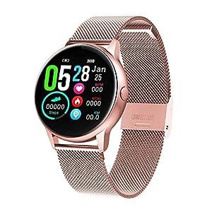 naack smartwatch, Reloj Inteligente Impermeable IP68 Pulsera de Actividad Pulsómetro Monitor de sueño Deportivo Cronómetro Contador de calorias para Mujer Color Dorado iOS y Android 4