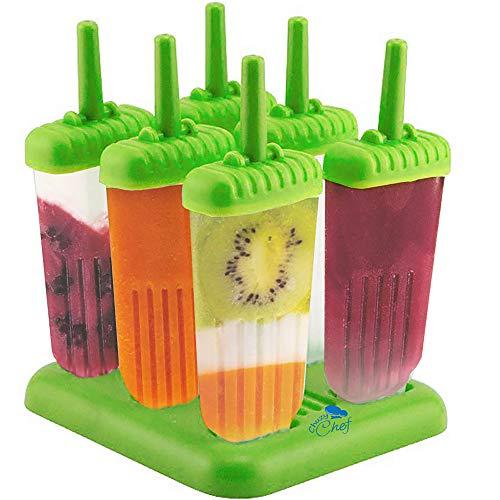 Eis Am Stiel Eisformen Eisform - Chuzy Chef Eis Formen Eis am Stiel 6 Stück BPA Frei Kinder DIY Eis Kit Ice Cream Maker Mit Halter Wiederverwendbar Eisförmchen Eis Selber Machen Eisförmchen