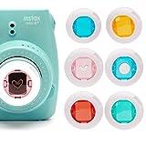 Filtro Lente para Instax Mini 7s, de colores Hellohelio Instax Mini 8Cámaras, poloroid Pic 300, Instax Mini HelloKitty cámara 4pcs en un traje (rojo, azul, amarillo, verde), color blanco