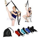 Door Flexibility & Stretching Leg Strap - Great for Ballet Cheer Dance Gymnastics or ANY Sport Leg Stretcher Door Flexibility Trainer Premium stretching equipment for ballet, dance, gymnastics, taekwondo & MMA. (black)