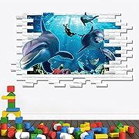 3d pesci oceano adesivo da parete Casa Rimovibile in PVC carta da parati soggiorno camera da letto Cucina Art Picture Murals Sticks finestra porta decorazione + 3d rana regalo adesivo per