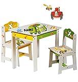 Unbekannt 3 TLG. Set: Sitzgruppe für Kinder - aus sehr stabilen Holz - weiß -  Bagger / Traktor & Auto  - incl. Name - Tisch + 2 Stühle / Kindermöbel für Jungen & Mäd..