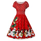 WWricotta Fashion Women Vintage Plus Size Penguin Dot Print Christmas O-Neck Party Dress(rot,XXXXL)