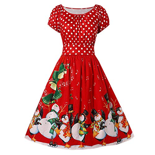IZHH Damen Vintage Kleider Mode Frauen Geschenk Pinguin Dot Print Weihnachten Oansatz Partykleid Kurzarm Rundkragen Große Größe Rock Dress Club Festival Carnival Kleid (Rot,XXXXX-Large)