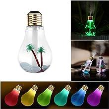 Flypro único bulbo forma ultrasonido humidificador de humo fresco Mini USB aceite esencial difusor de aroma purificador de aire de escritorio con 7 luces LED de color
