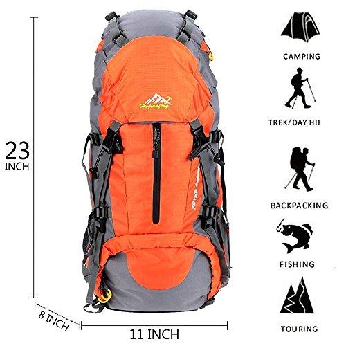 Imagen de 50l senderismo de daypacks  de deportes al aire libre  de senderismo  bolsas bolsa resistente al agua para acampar pesca viajes escalada alpinismo ciclismo esquí naranja