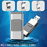 Comaie® i-flashdrive 3-in-1-u-disk USB-Flash Drive HD Pendrive fast-transmission für iPhone, iPad, USB-Schnittstelle für PC-1 Pen Drive, 128 GB Pendrive OTG-Stick mit mehreren Funktionen