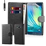32nd Étui Portefeuille en Cuir PU Flip Coque pour Samsung Galaxy A3 (2015), Housse avec fentes CB et Fermeture Magnétique - Noir