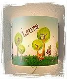 Kinder Leuchte als Wandlampe/Schlummerlicht oder Nachtlicht für Steckdose/personalisiert mit Namen Motiv Tiere Fuchs