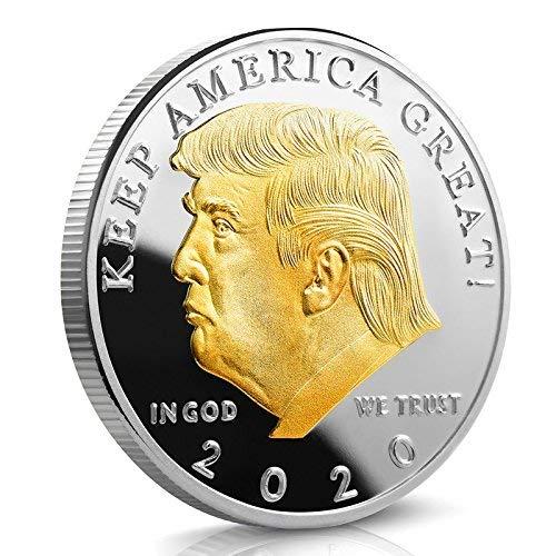 LIOU Donald Trump 2020 Zwei Ton Gold Kopf Münze Silber Überzogene Gedenkmünze Halten Amerika Große Herausforderung Münzen Neuheit Münze Politisches Geschenk - Silber-gold-ton