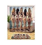 Amody Duschvorhang mit Perlen Ringe Sexy Frauen wasserdicht Bad Vorhang (Teppich Nicht enthalten) Größe 165X180CM Stil 9