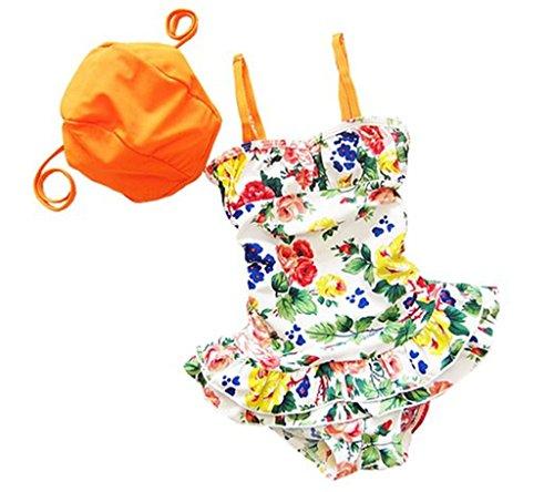 Tailloday Baby Mädchen Kleinkind Badeanzug orange Bikini Barbie Prinzessin Kleid +Unterteil Sonnenhut S