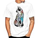 zycShang Remera Polo Camisa Casaca Manga Corta Camisa De Deporte Hombres Sudor Absorbente Camiseta Impresiones de Gato Femenino Blusa Running Atlético Verano Desgastar Color Fresco (Blanco, 4XL)