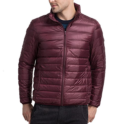 Linyuan Mode Mens Stand Collar Winter Lightweight Down Jacket Warm Outwear Jacket Wine Red