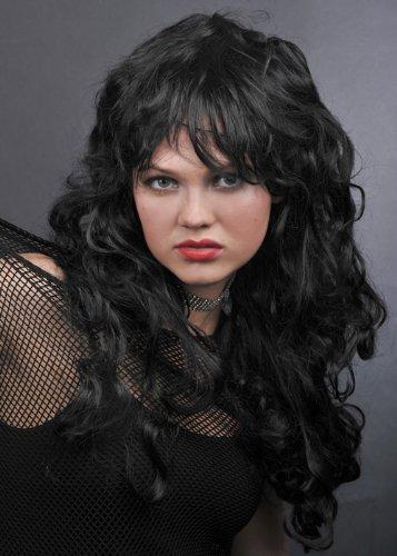 Damen 80er lange lockige schwarze Rock Chick Perücke (Haare Rock-chick)