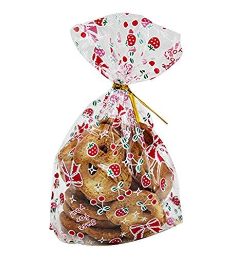 Hosaire 50Pcs Sacs à bonbons Sac Sachet Mignons Motif de Fruit Sac Pochette Sachet pour Bonbon Biscuit Chocolat Friandise Sucreries Sacs de Cadeaux pour Candy Bar Mariage Anniversaire Noël Partie L