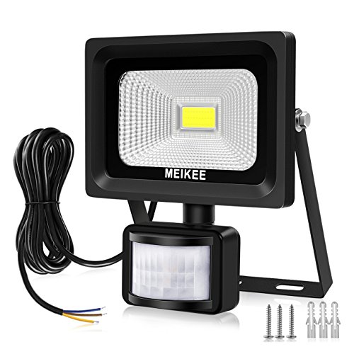 MEIKEE Security Lights with Motion Sensor, 10w Led Sensor Outdoor light, IP66 Waterproof Security Lighting, High Output 1000lumen, Super Bright LED PIR Floodlight, Ideal for Garden, Car park, Hotel and Forecourt, Daylight White