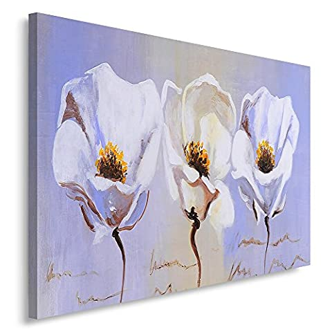 Feeby Frames. Tableau Déco - 1 partie - 50x70 cm, Impression sur Toile Décoration Murale Image Imprimée, FLEURS, MODERN, PEINTURE, ART, BLANC, BLEU,