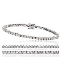 5CT certificado g/VS2 corte brillante redondo garra Set brazalete de tenis de diamantes en 18 K oro blanco