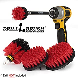 Drillbrush - Stiff Bristle Power Scrubber Cleaning Kit with Extension – Patio - Deck Brush - Spin Brush kit to Remove Algae, Mold, Mildew, and Moss from Garden Statues, Headstones, and Monuments