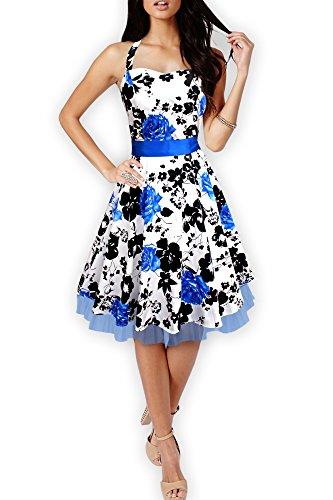 Black Butterfly Abito vintage anni '50 Rhya Serenity Bianco & Blu