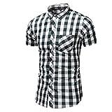Homme T-Shirt FNKDOR Été Affaires Loisir À Manches Courtes Grande Taille Treillis Impression Chemise(Vert,FR-46/CN-5XL)