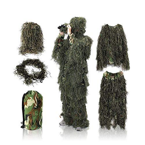 Qnlly 5-in-1-Ghillie-Anzug, 3D-Camouflage-Jagdbekleidung, einschließlich Jacke, Hose, Kapuze, Gewehrhülle und Tragetasche, geeignet für Unisex-Erwachsene/Kinder/Jugendliche